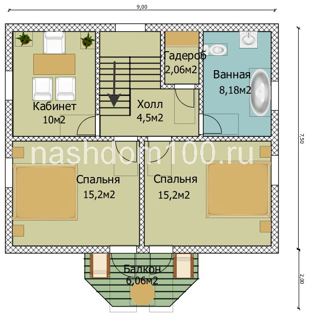 План 2 этажа каркасного дома Д-26
