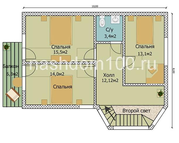 План 2 этажа каркасного дома Д-34
