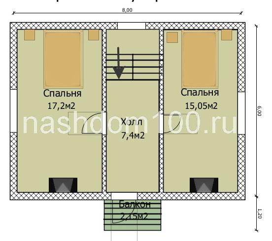 План 2 этажа каркасного дома Д-28