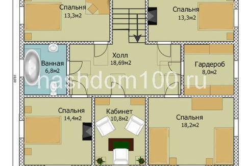 План 2 этажа каркасного дома Д-10