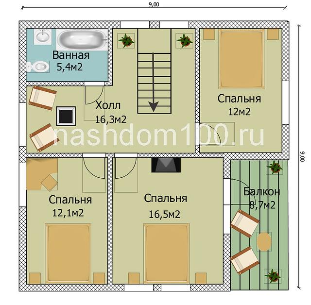План 2 этажа каркасного дома Д-18