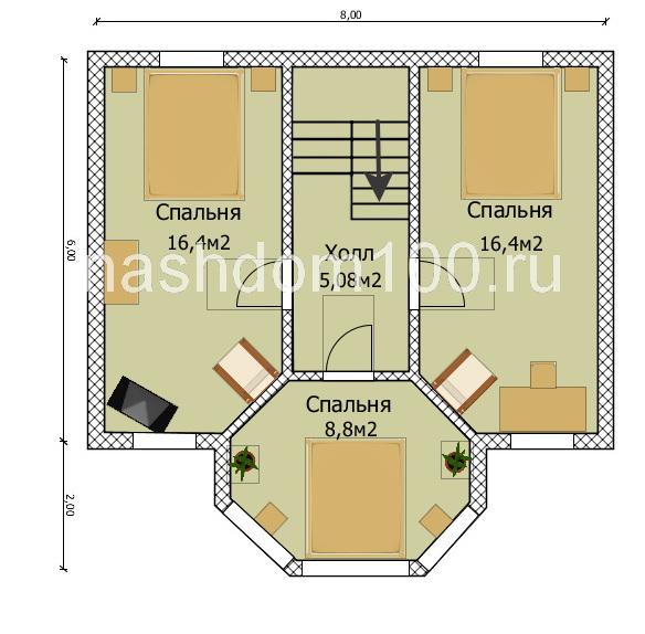 План 2 этажа каркасного дома Д-11