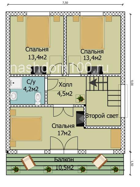 План 2 этажа каркасного дома Д-19
