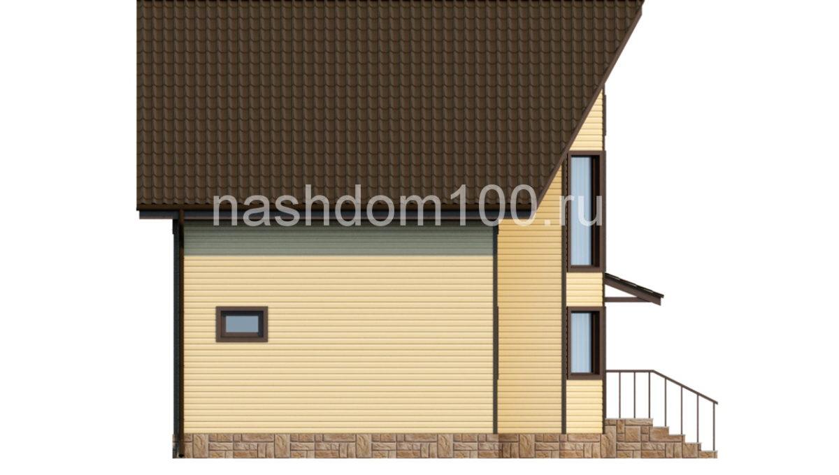 Фасад 2 каркасного дома Д-11