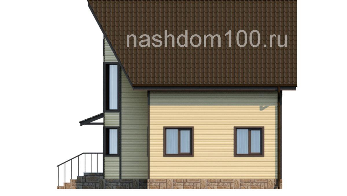 Фасад 3 каркасного дома Д-11