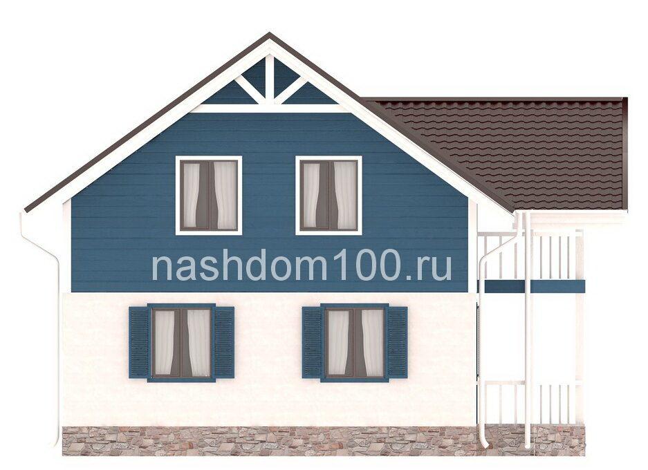 Фасад 2 каркасного дома Д-26