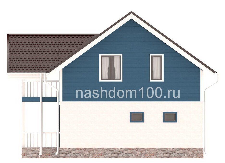 Фасад 4 каркасного дома Д-26