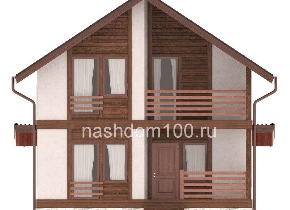 Фасад 1 каркасного дома Д-33