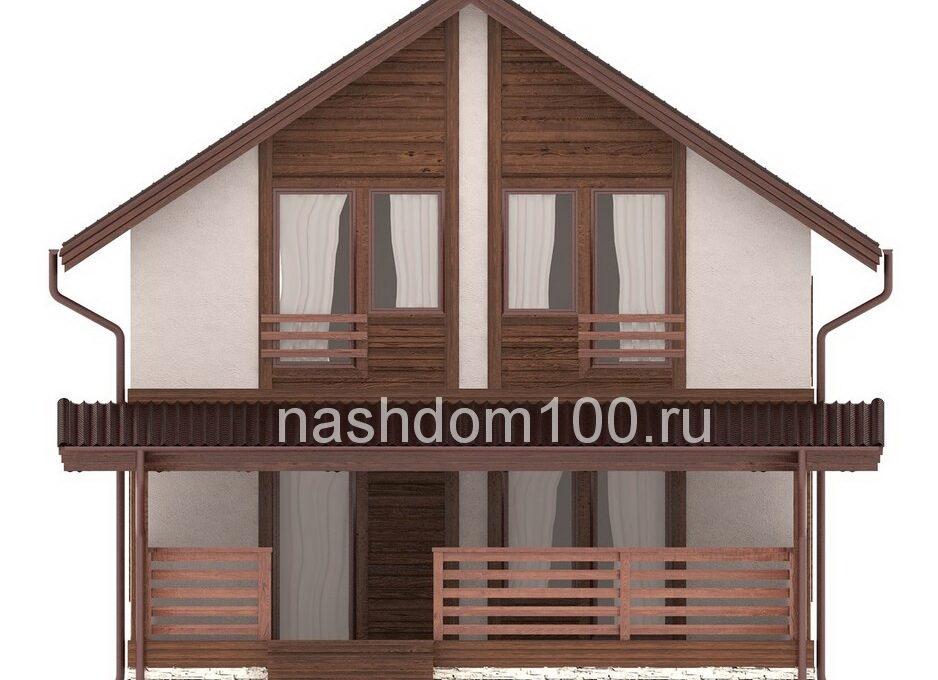 Фасад 2 каркасного дома Д-33