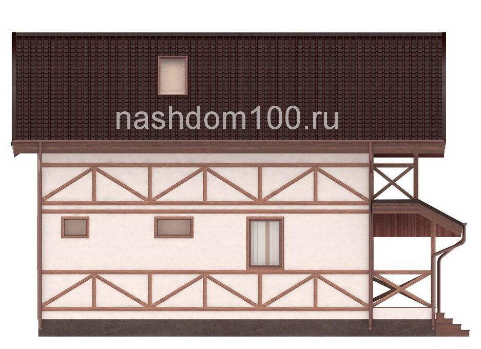 Фасад 3 каркасного дома Д-34