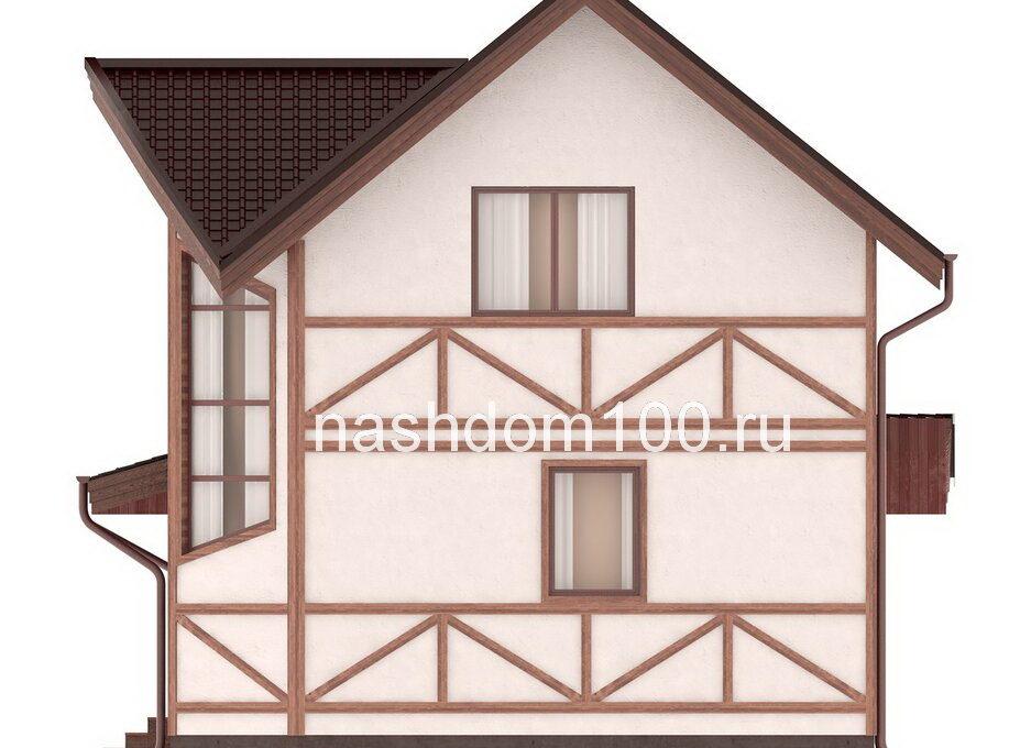 Фасад 2 каркасного дома Д-34
