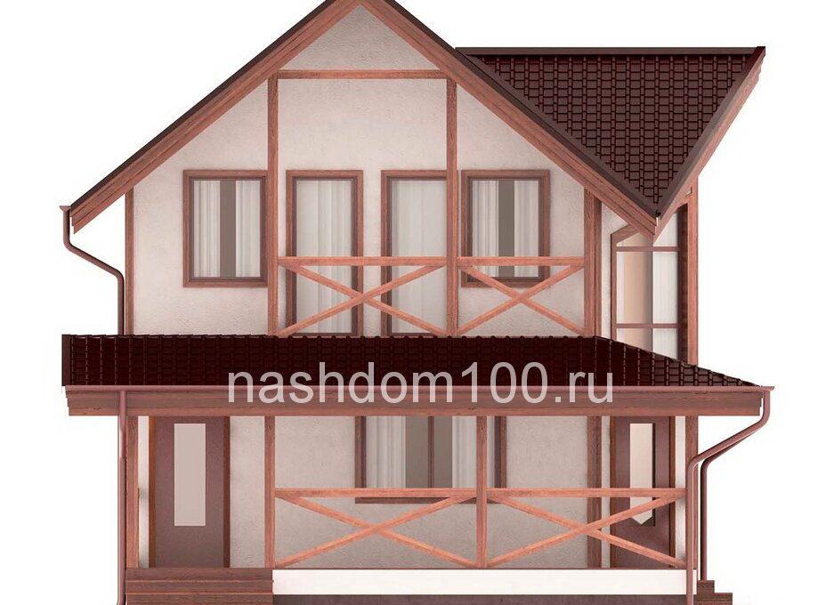 Фасад 1 каркасного дома Д-34