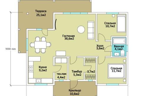 План 1 этажа каркасного дома Z-136