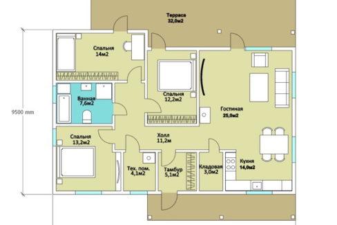 План 1 этажа каркасного дома Z-191