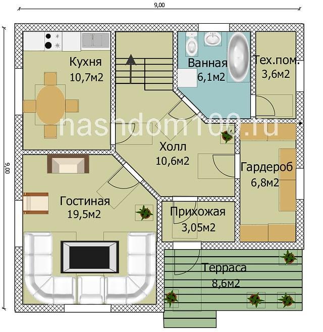 План 1 этажа каркасного дома Д-17