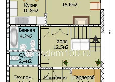 План 1 этажа каркасного дома Д-19