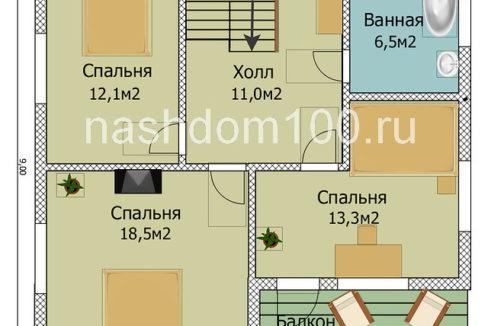 План 2 этажа каркасного дома Д-17