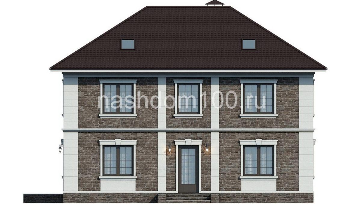 Фасад 1 каркасного дома Д-10
