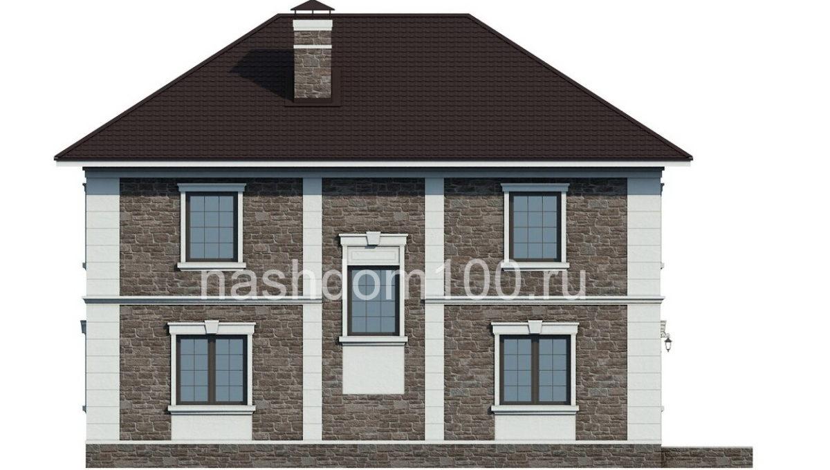 Фасад 3 каркасного дома Д-10