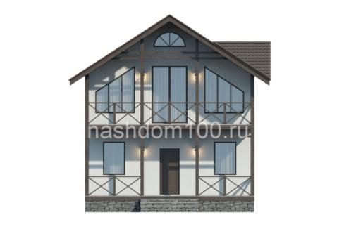 Фасад 1 каркасного дома Д-19