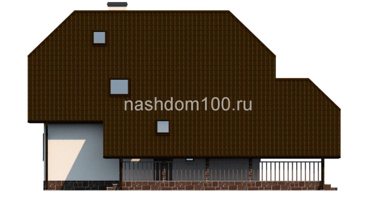 Фасад 2 каркасного дома Д-4