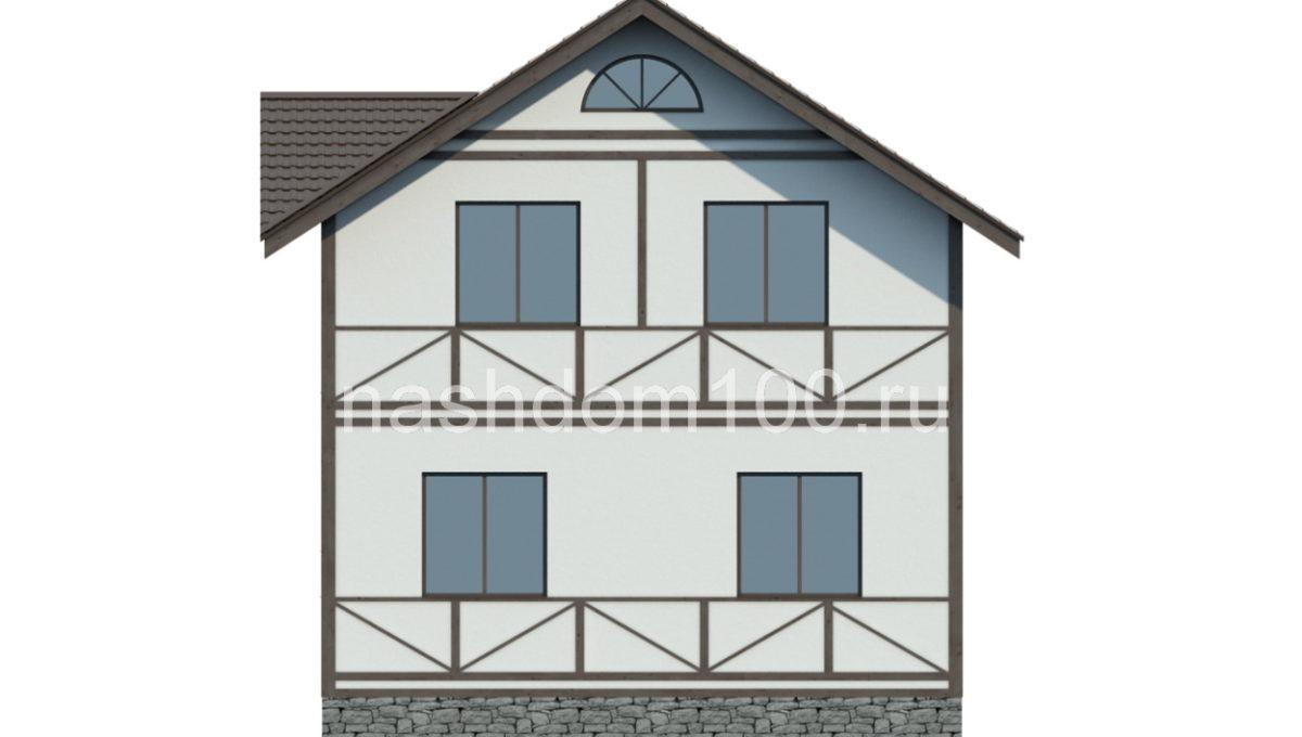Фасад 4 каркасного дома Д-19