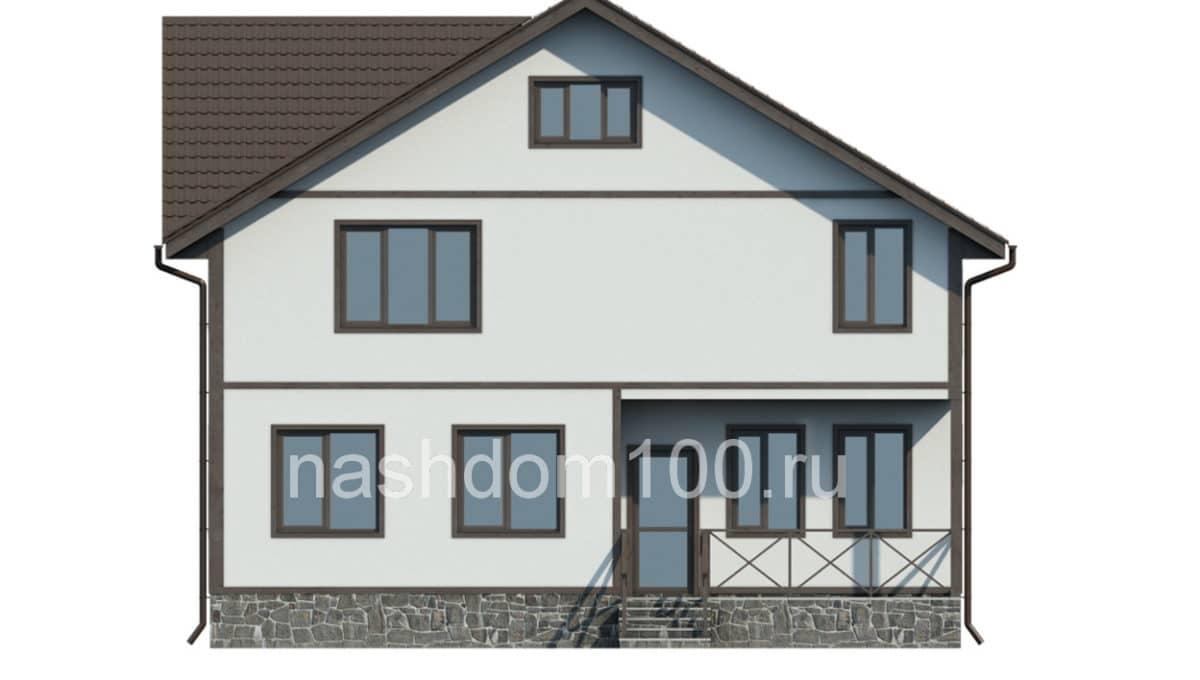 Фасад 3 каркасного дома Д-21