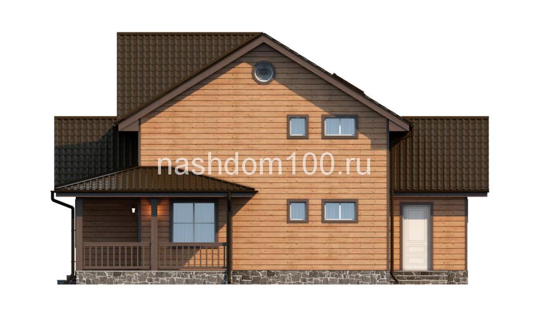 Фасад 3 каркасного дома Д-8