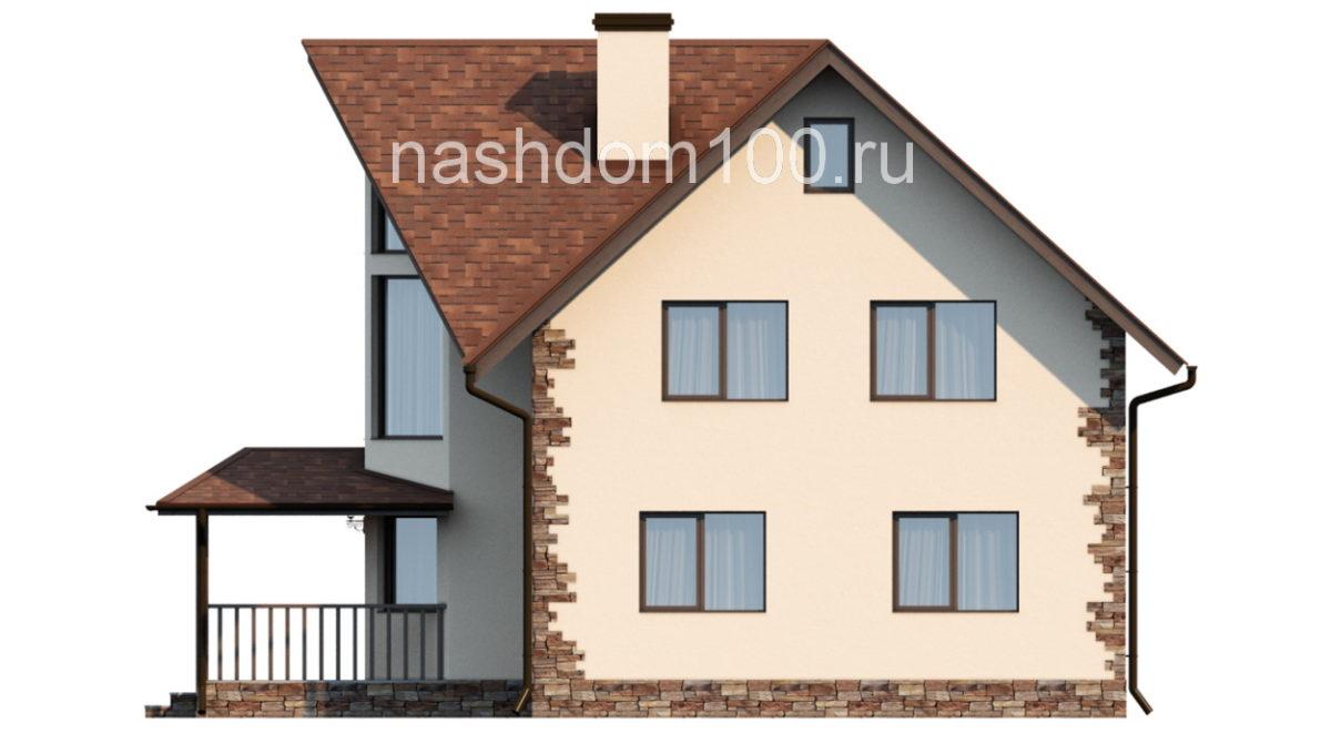 Фасад 4 каркасного дома Д-5