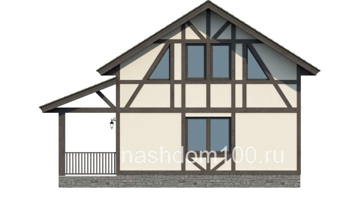 Фасад 4 каркасного дома Д-14