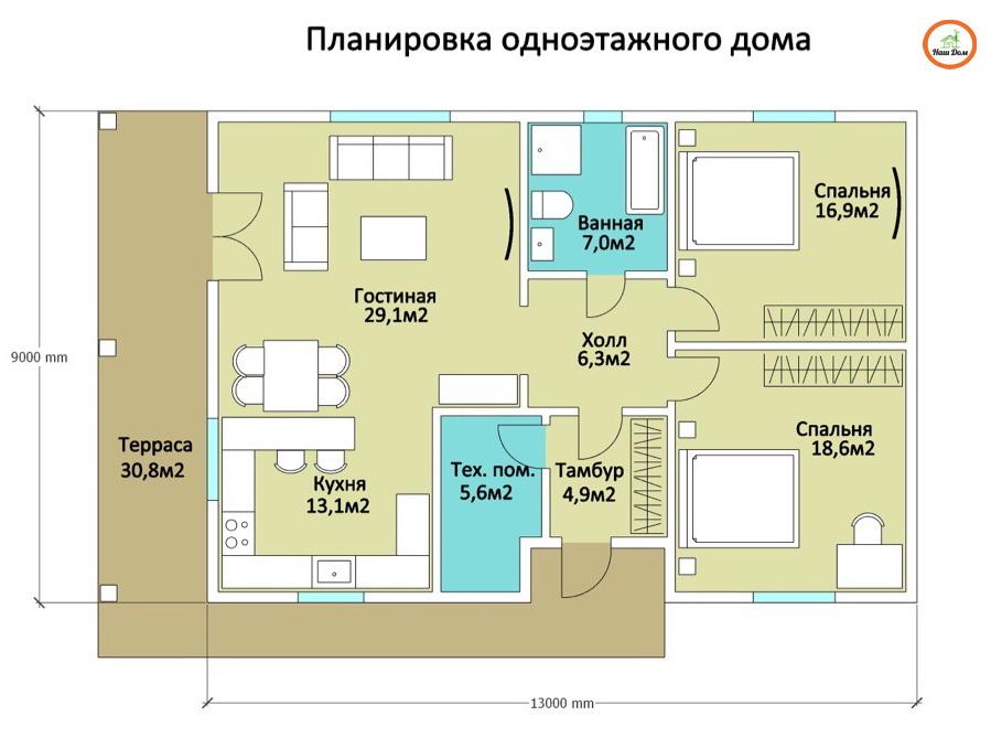 План 1 этажа каркасного дома Z-55