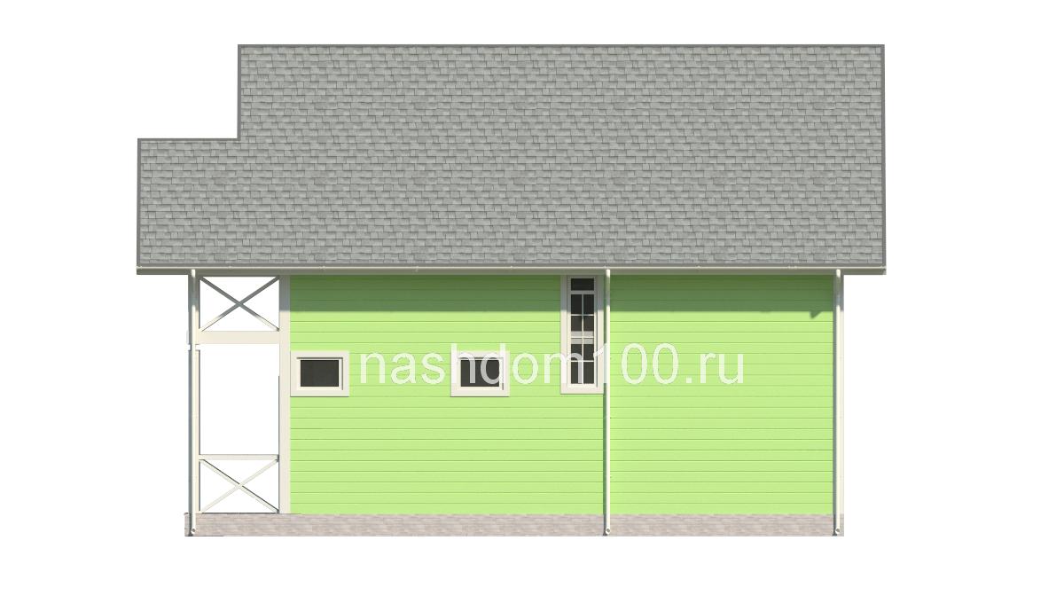 Фасад 2 каркасного дома Д-22