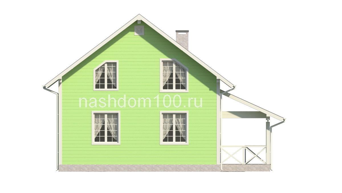 Фасад 4 каркасного дома Д-22