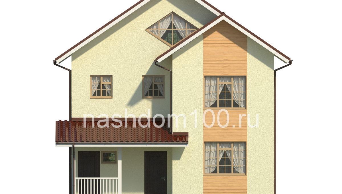 Фасад 1 каркасного дома Д-23