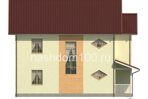 Фасад 2 каркасного дома Д-23