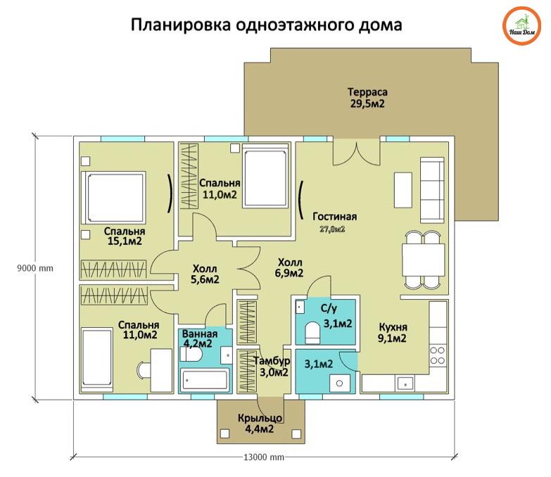 План 1 этажа каркасного дома Z-8