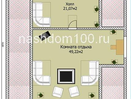 План мансардного этажа каркасного дома Д-21