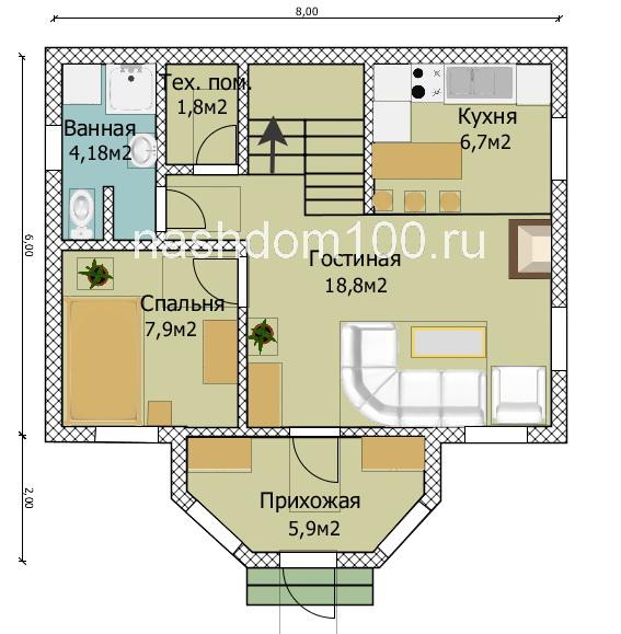 План 1 этажа каркасного дома Д-11