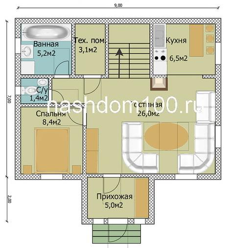 План 1 этажа каркасного дома Д-16