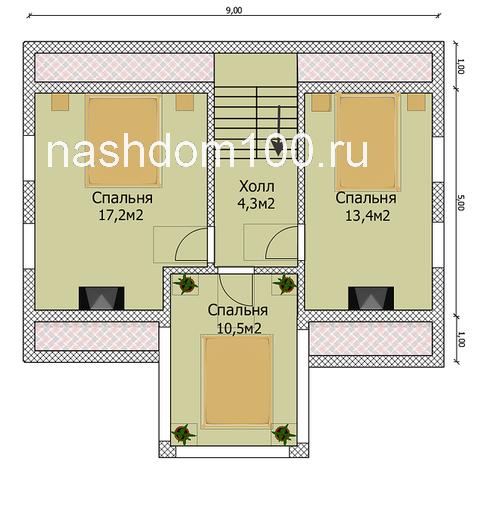 План 2 этажа каркасного дома Д-16