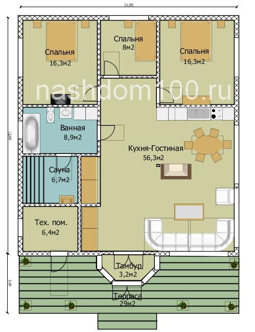План 1 этажа каркасного дома Д-24