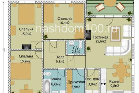 План 1 этажа каркасного дома Д-35