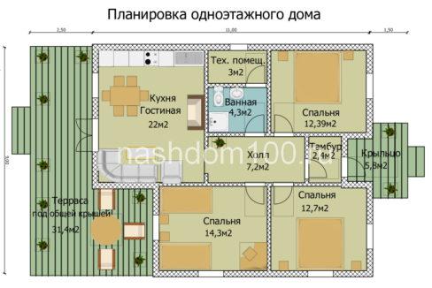 План 1 этажа каркасного дома Д-6