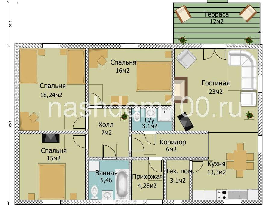 План 1 этажа каркасного дома Д-7