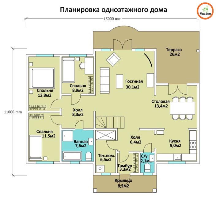 План 1 этажа каркасного дома Z-2