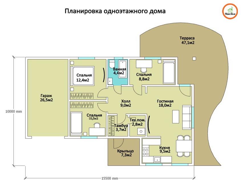 План 1 этажа каркасного дома Z-15