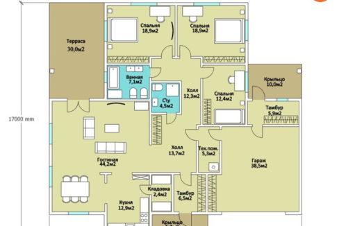 План 1 этажа каркасного дома Z-17