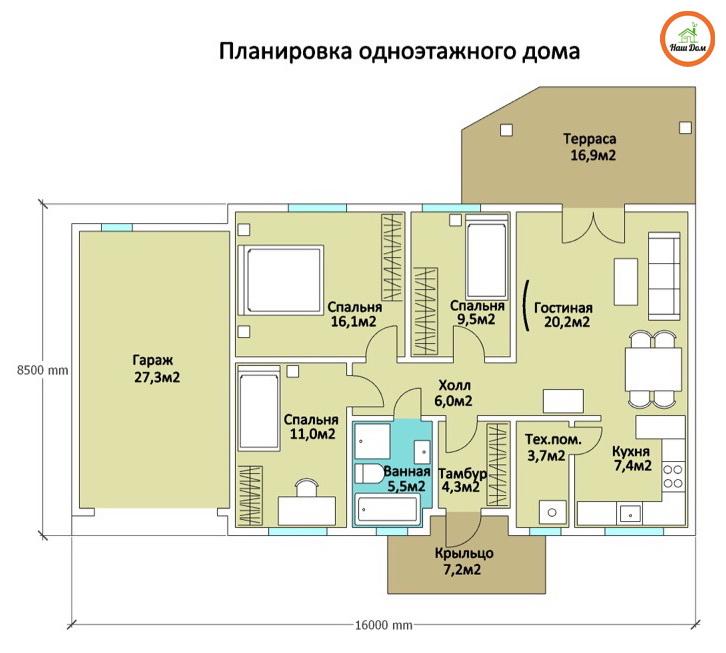 План 1 этажа каркасного дома Z-7
