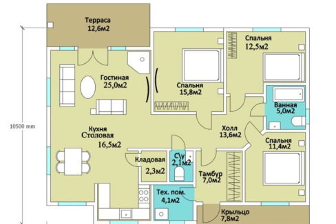 План 1 этажа каркасного дома Z-23