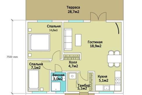 План 1 этажа каркасного дома Z-11